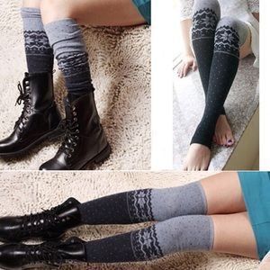 Other - Gray & Black Snowflake Over The Knee Leg Warmers